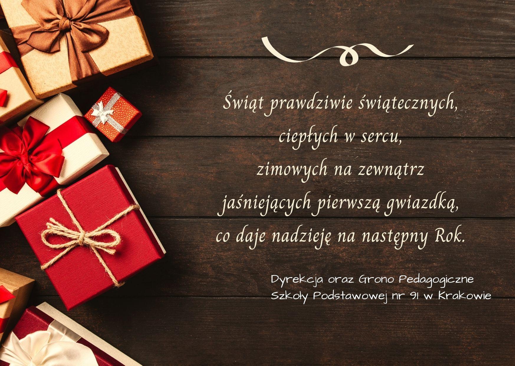 Życzenia świąteczne od dyrekcji i grona pedagogicznego.