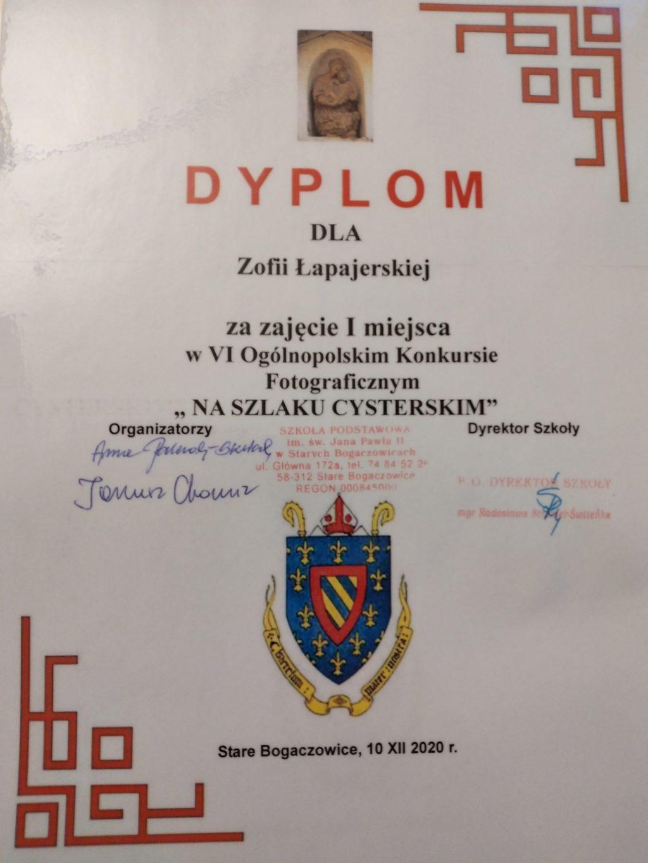 Dyplom konkursowy