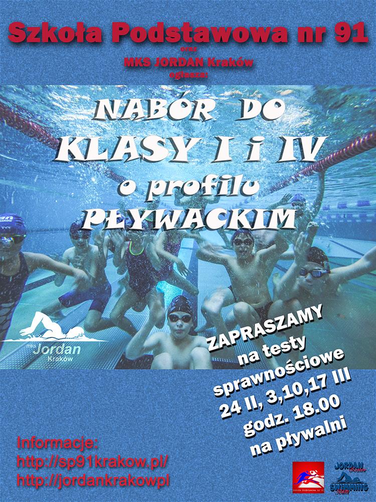 Plakat - nabór do klas pływackich.