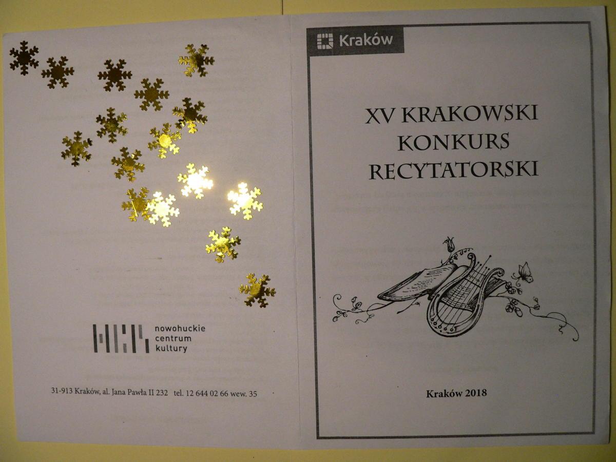 Xv Krakowski Konkurs Recytatorski Klasy 4 5 6 7 8